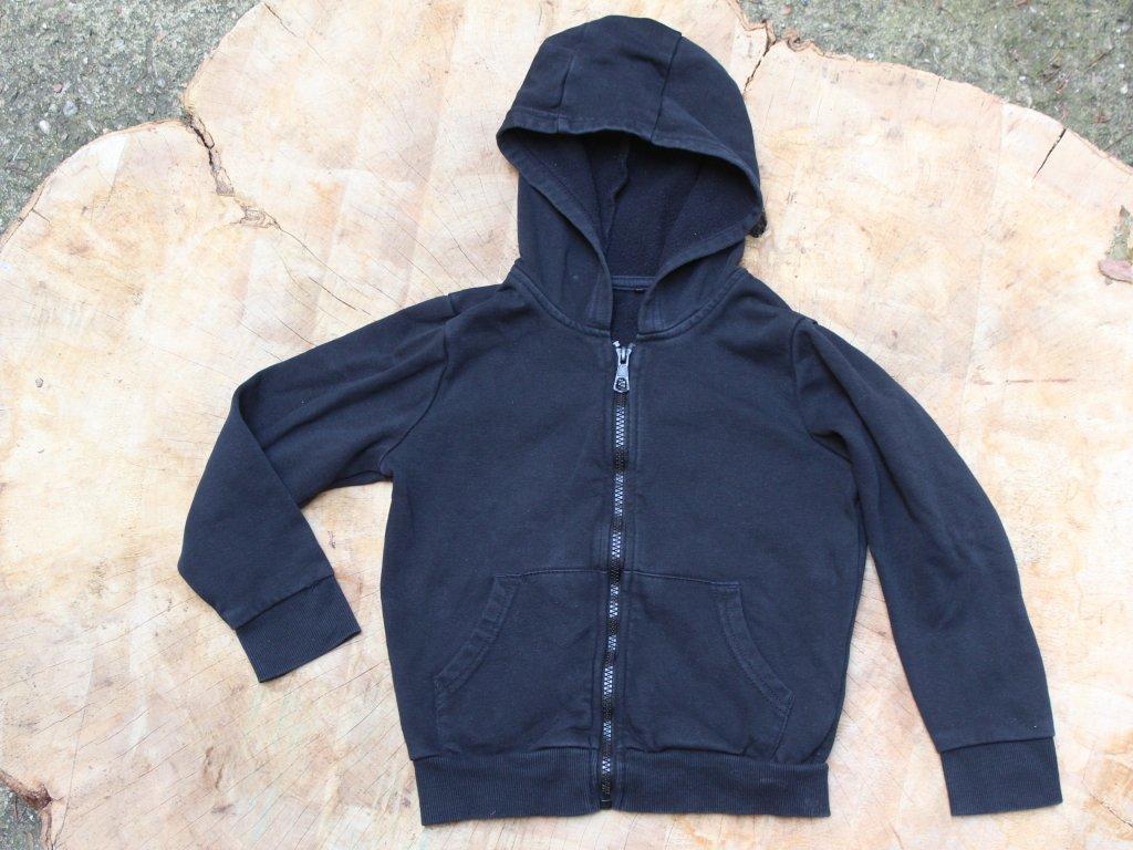 černá mikina na zip s kapucí George 6-7Y