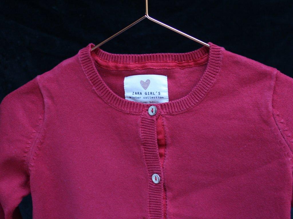 červený propínací svetřík Zara 3-4Y