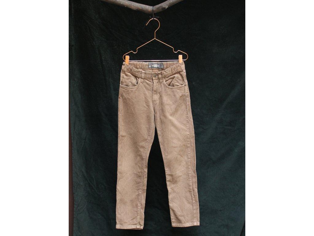 hnědé manšestrové kalhoty H&M 134