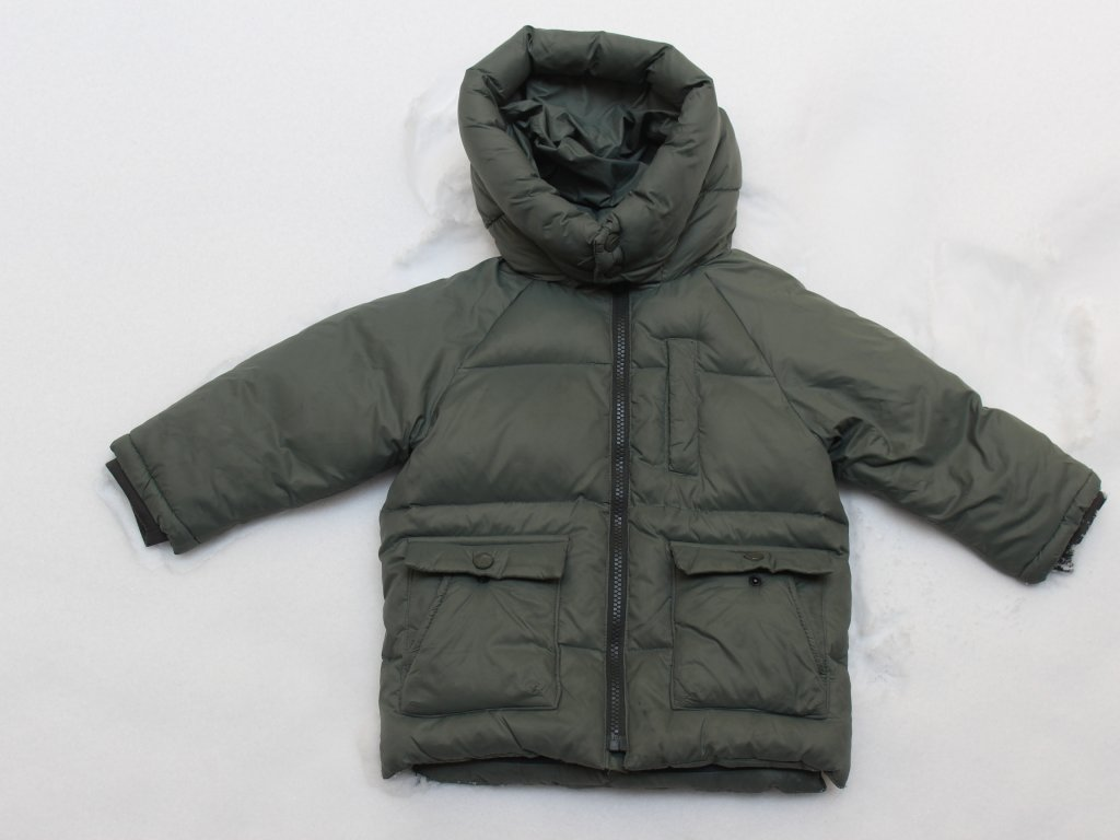 khaki péřová bunda Zara 92