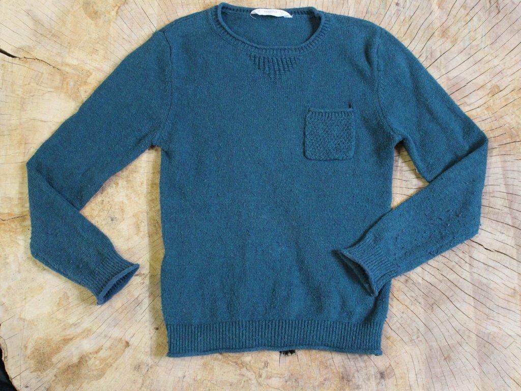 petrolejový svetr s vlnou Mango128