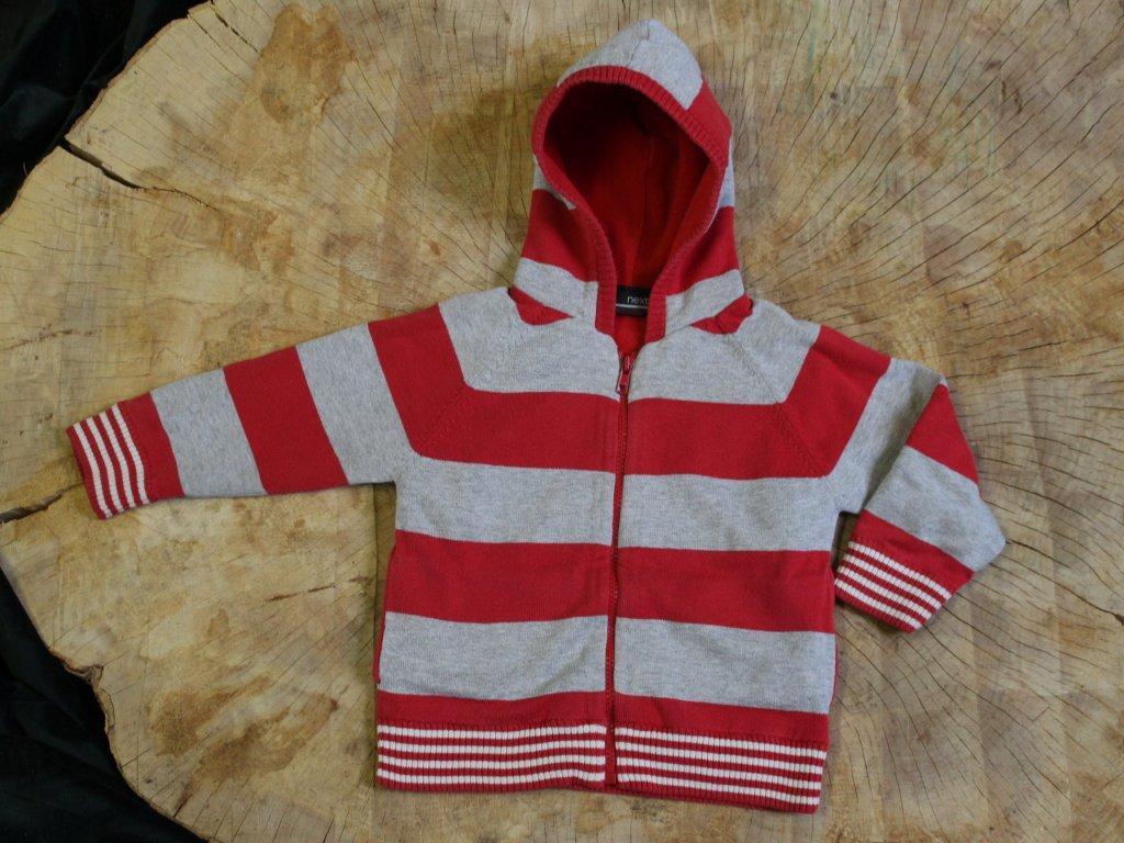 červeno-šedý zateplený svetr s kapucí Next 2-3Y