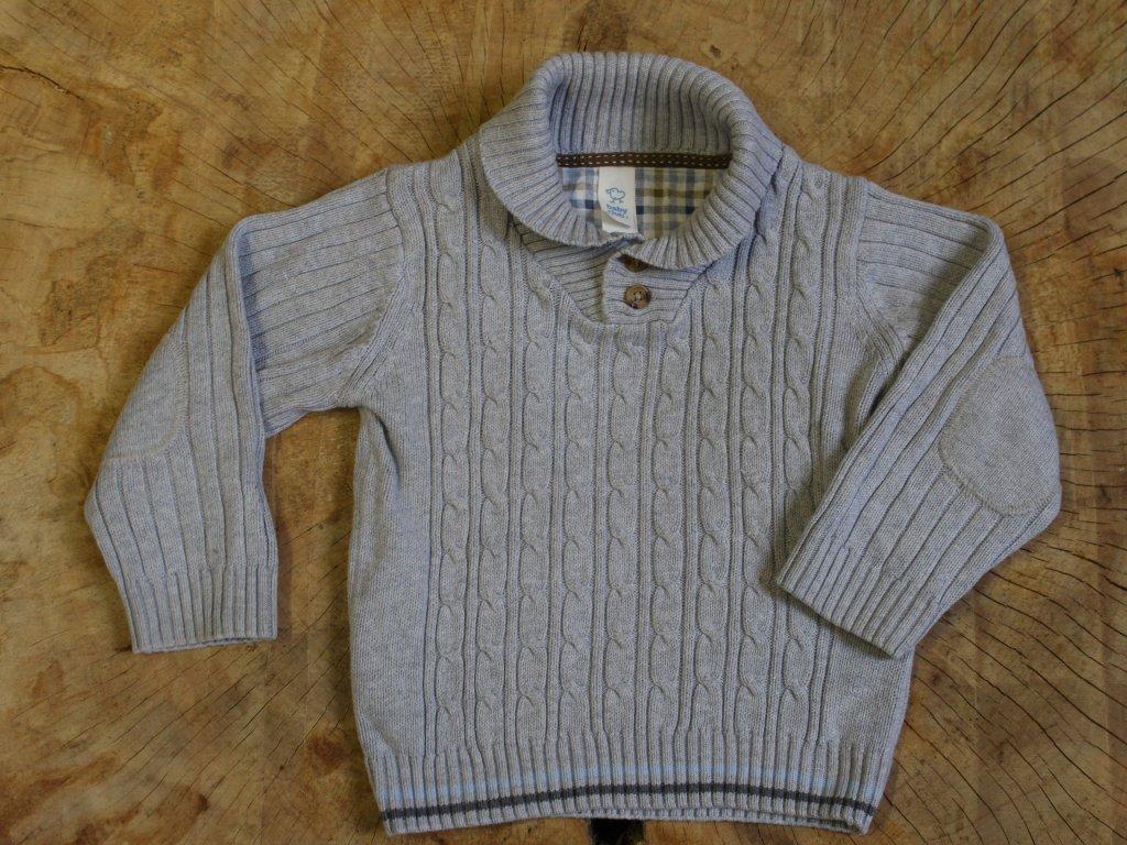 šedý svetr s knoflíčky u krku Baby Club 92