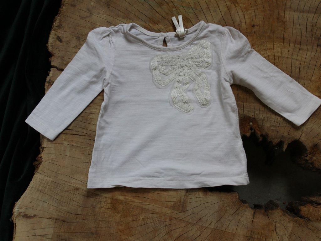 bílé tričko s mašlí Next 3-6M