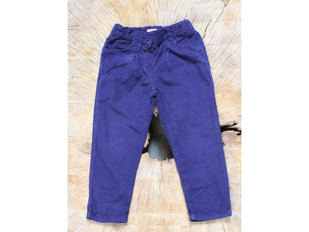 fialové manšestrové kalhoty F&F 92