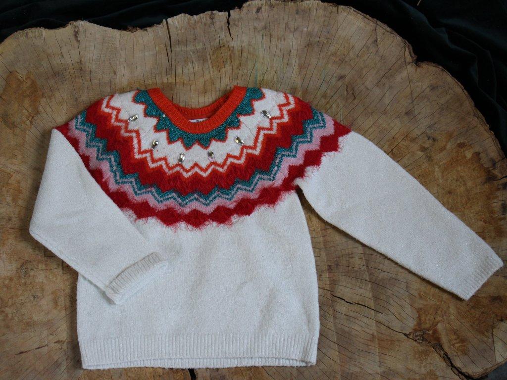 bílý retro svetřík s flitrovými knoflíky M&S, 8-9Y