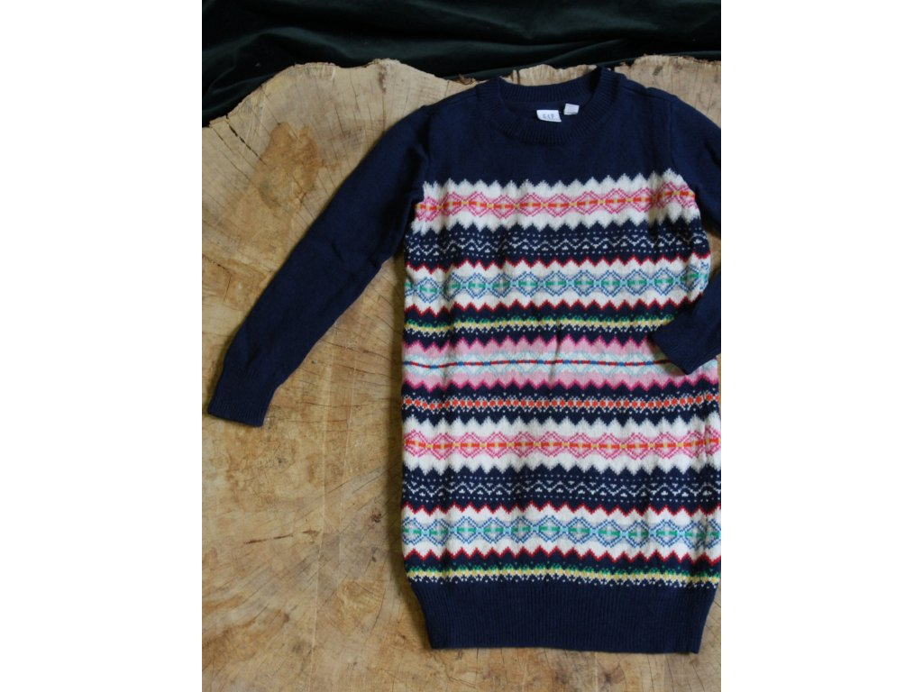modré svetrové šaty Gap 6-7Y