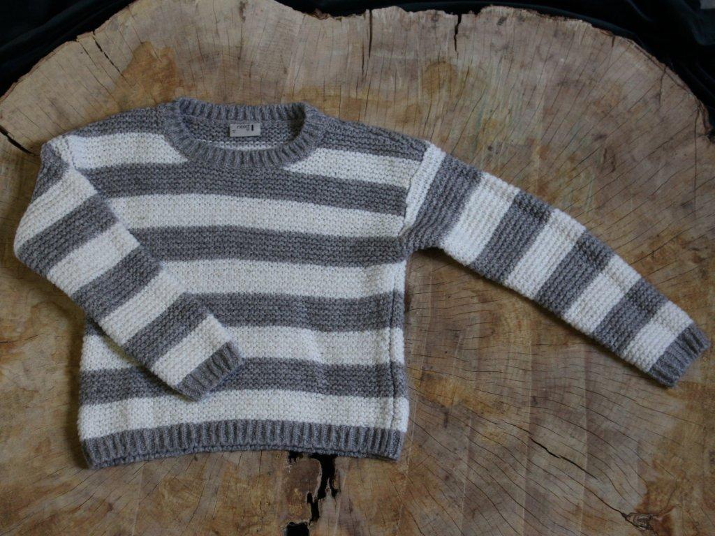 bílo-šedý pruhovaný svetr Next 6-7Y