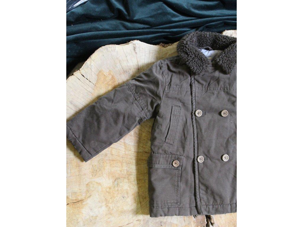 khaki kabát s kožešinkou 5Y