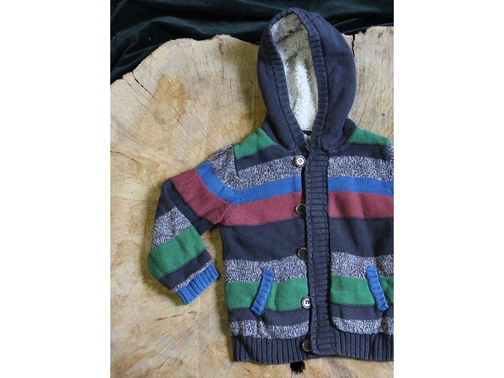 zateplený proužkovaný svetr s kapucí M&S 5-6Y