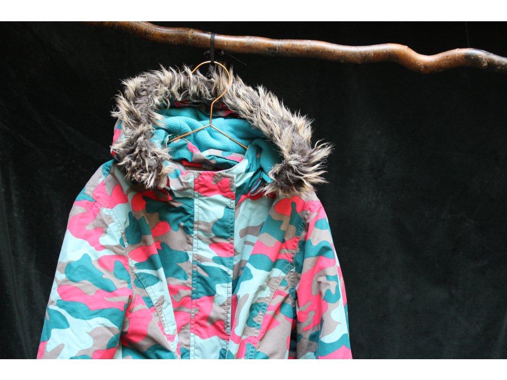 tyrkysovo-růžová maskáčová zimní bunda Johnnie B 11-12Y