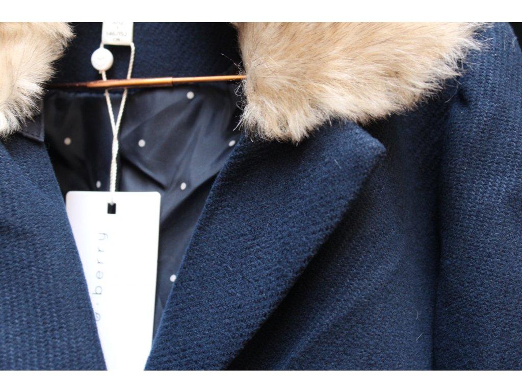 modrý kabát s kožešinovým límcem Mint&Berry 11-12Y