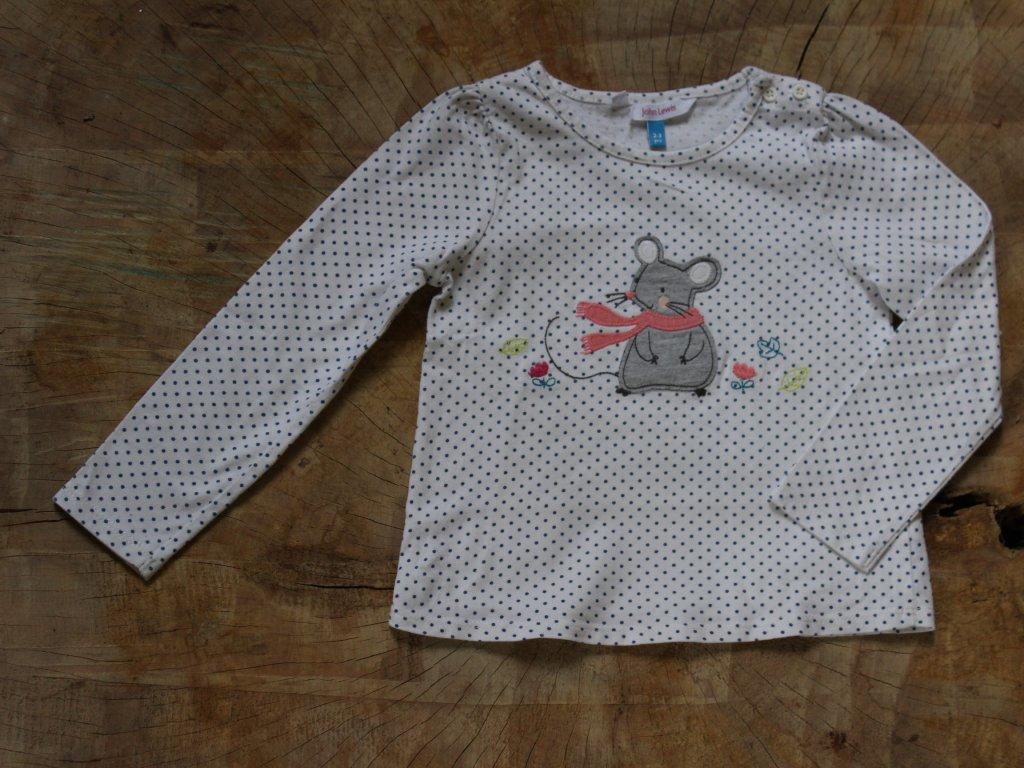 puntíkované triko s myškou John Lewis 2-3Y
