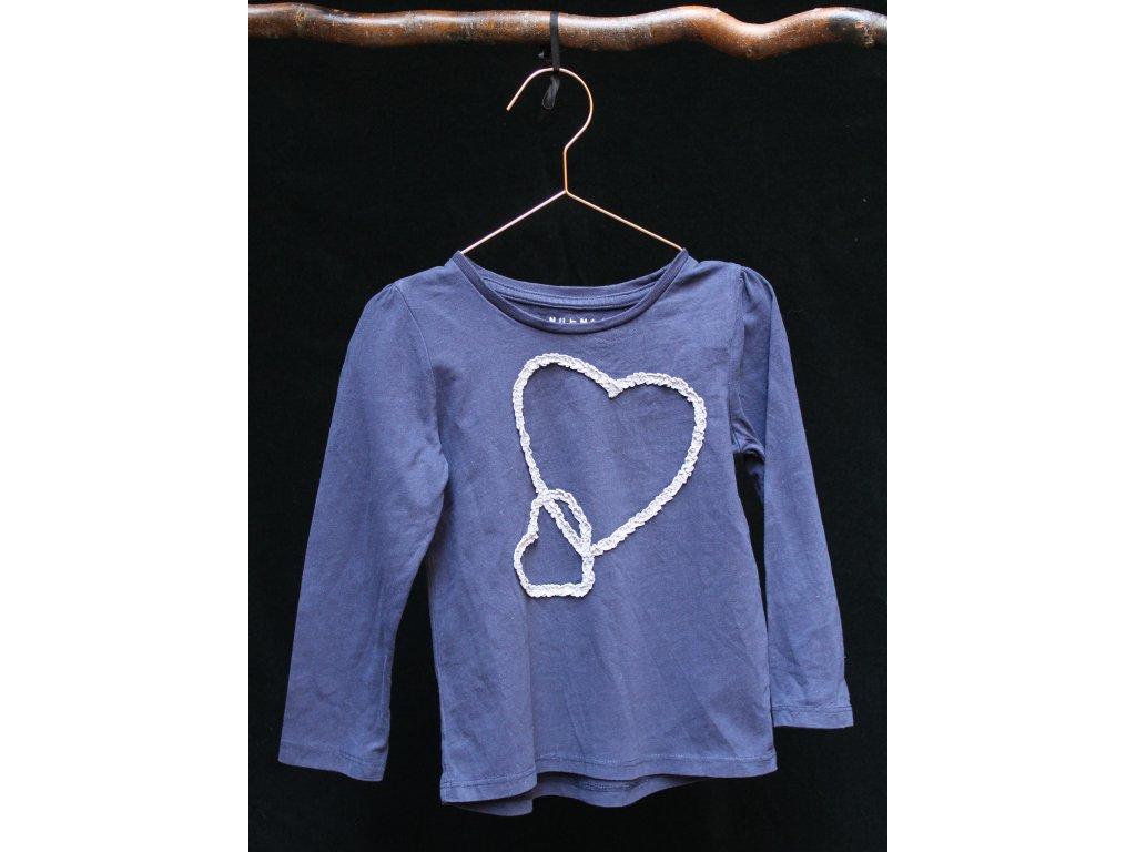 tmavě modré tričko se srdci Nutmeg 5-6Y