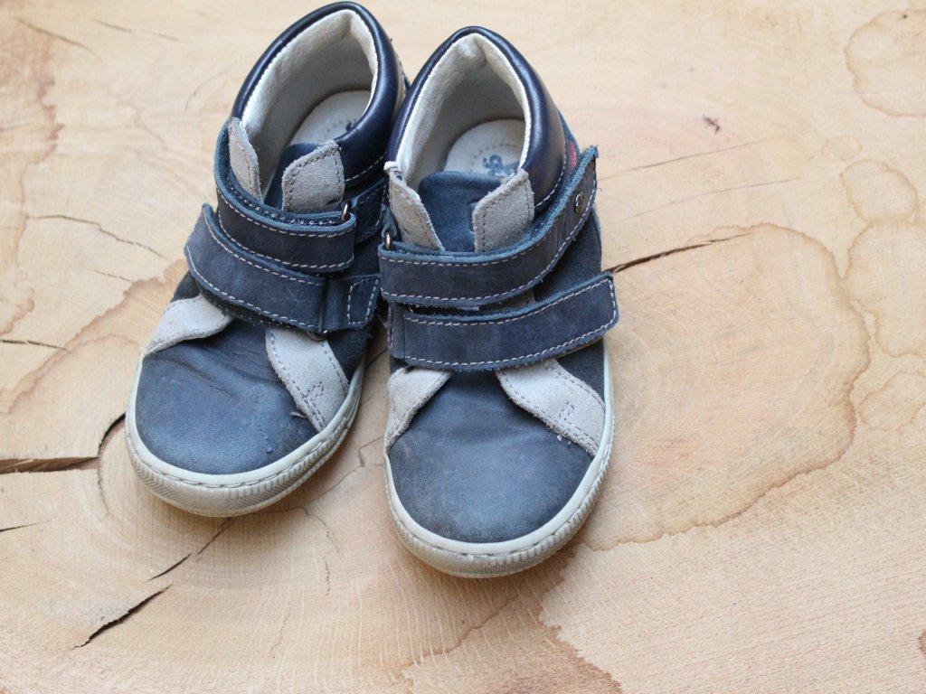 modro-šedé kotníkové celoroční boty na suchý zip Bubble gummers 25