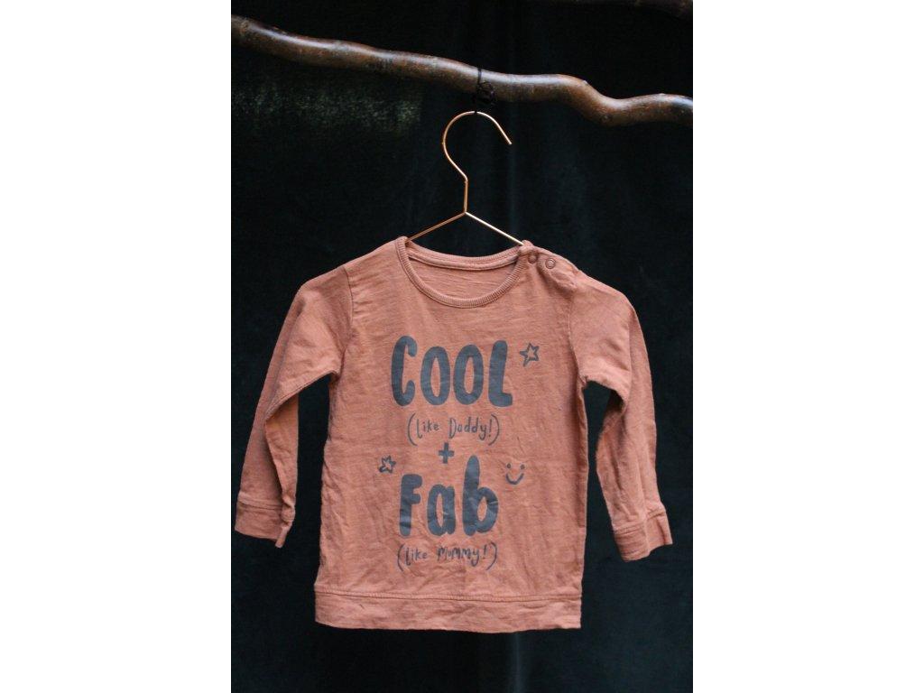 hnědé tričko s dl.rukávem Cool&Fab George 12-18M