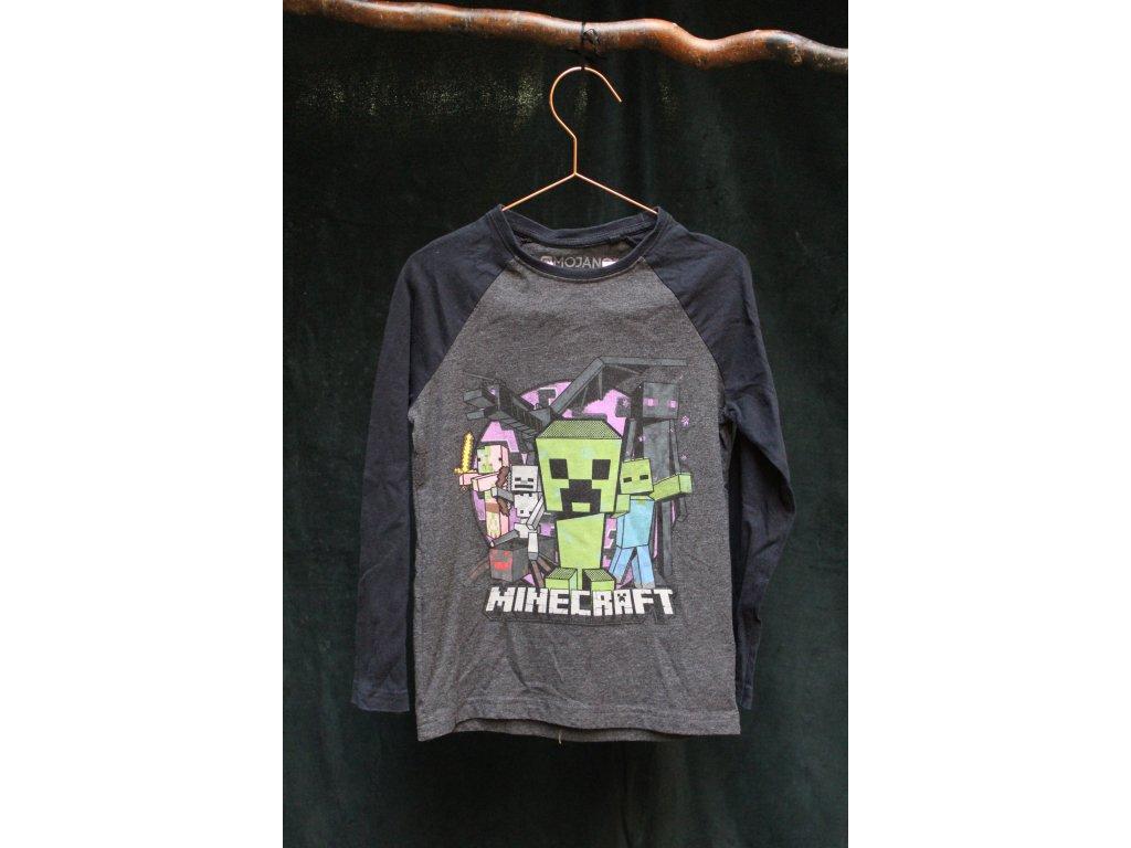 černo-šedé tričko Minecraft s dl.rukávem 116