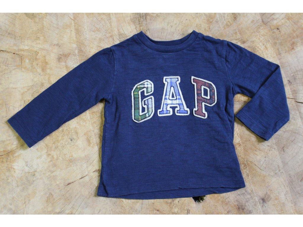 modré tričko GAP s dl.rukávem 80