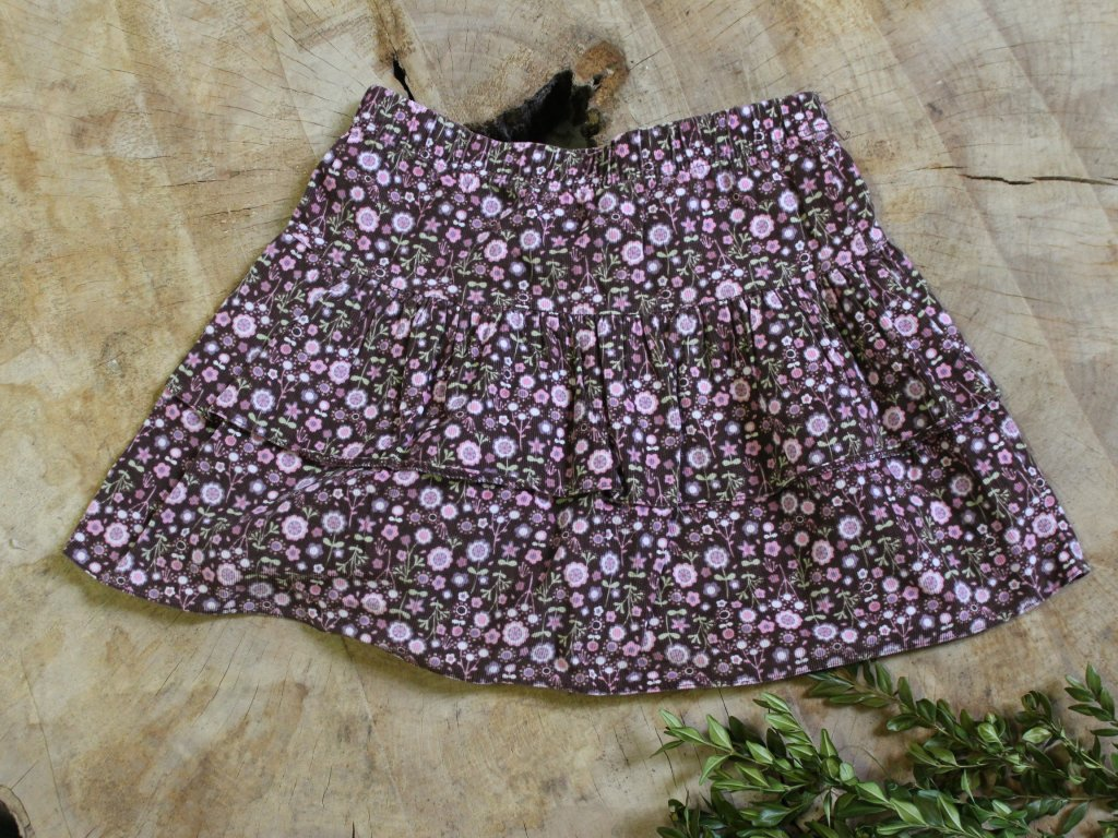 hnědá manšestrová sukně s růžovými kvítky M&S 4-5Y