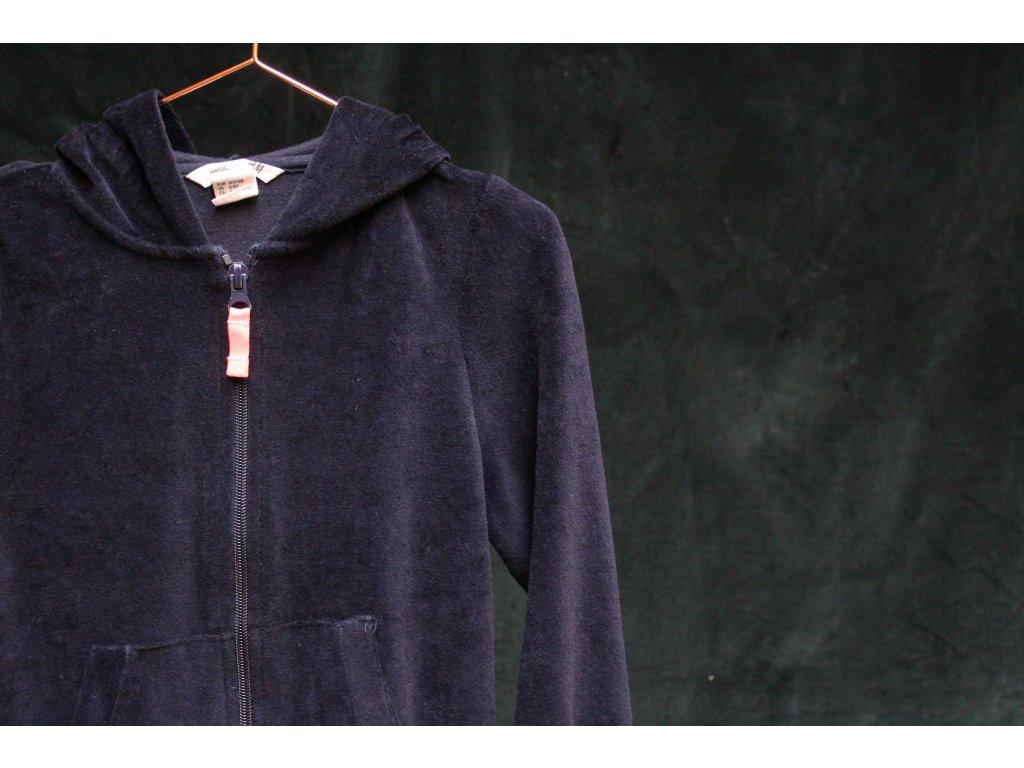mikina s kapucí černý samet H&M 6-8Y