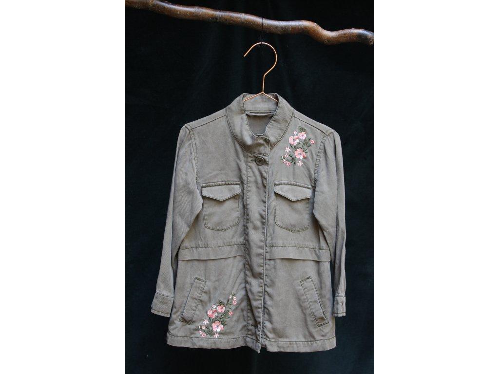 viskozové khaki sako s výšivkou 104-110