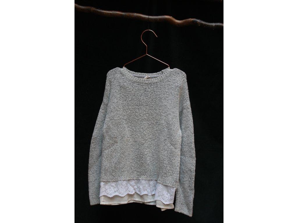 šedý svetr s krajkou YD 146