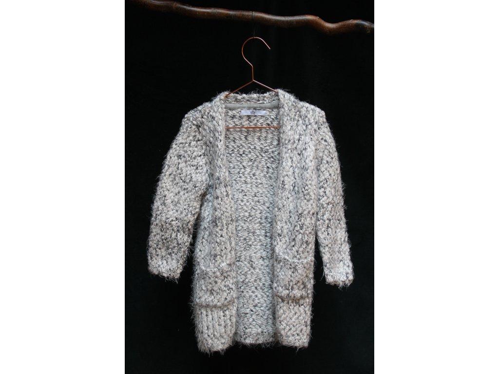 dlouhý šedý svetr s kapsami M&S 6-7Y