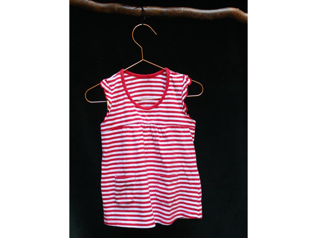 červeno-bílé proužkovaný top z bavlny Matalan 3Y
