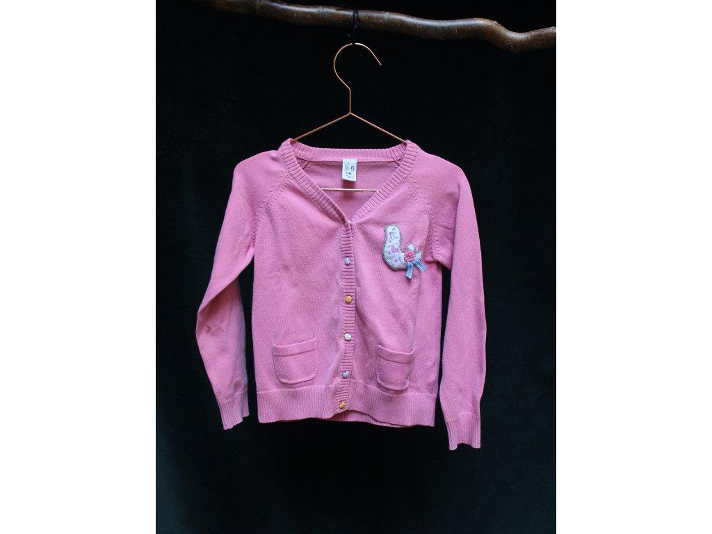 růžový propínací svetr s hrdličkou Zara 5Y