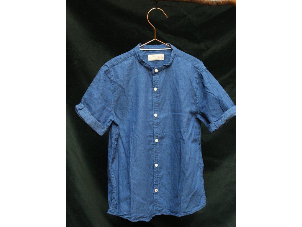 modrá košile s kr.rukávem Zara 7-8Y