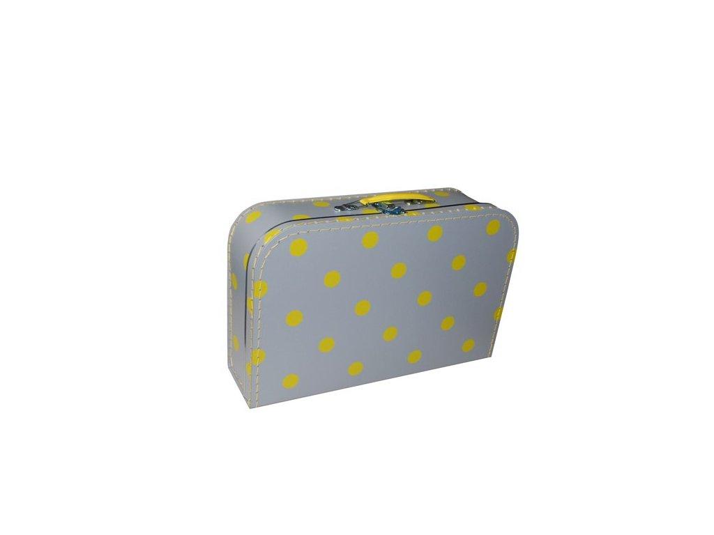 Dětský kufřík 35cm v šedé se žlutými puntíky
