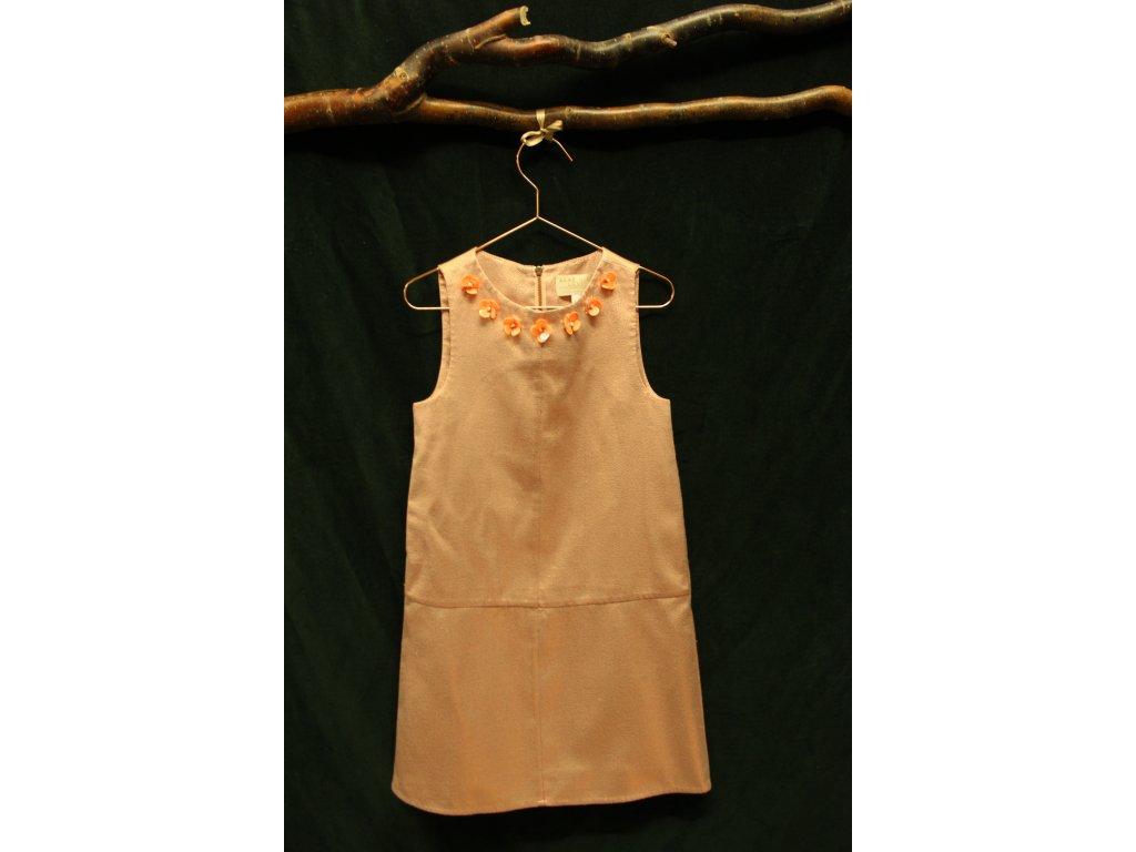 třpytivé šaty ve starorůžové s kvítky u krku M&S 7-8Y