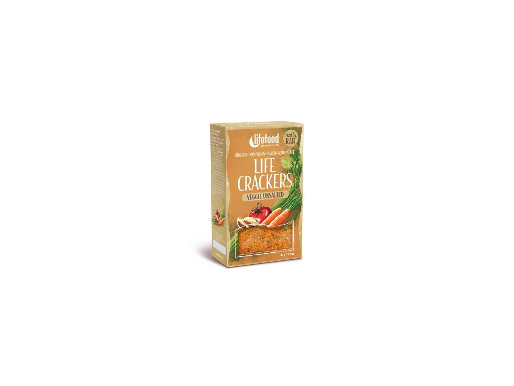 Life Crackers VEGGIE UNSALTED nesolene zeleninove placky bio raw lifefood 400 400