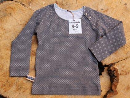 šedé tričko puntík CUNA VLNAMI vel.4-5Y