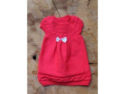 růžové pletené šaty 6-12M