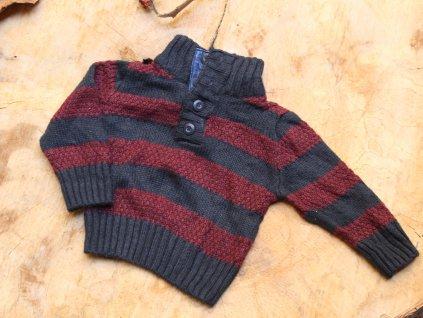 hnědo-červený svetr Little Rebel 9-12M