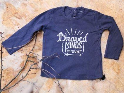 tričko modré s dl.rukávem Brave minds forever La redoute 86