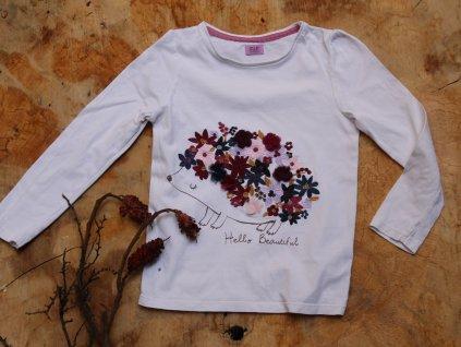 tričko bílé s ježkem a dl.rukávem F&F 122