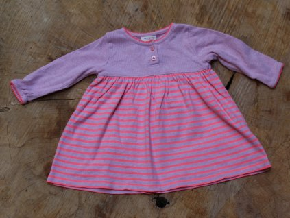 růžové proužkované šaty Next 3-6M
