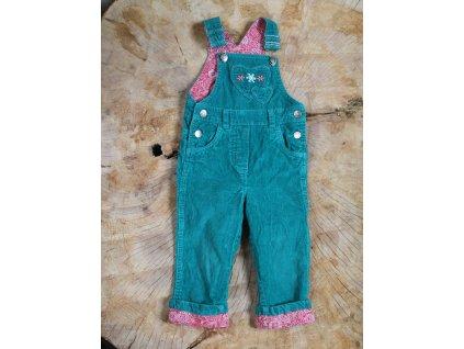 zelené manšestrové kalhoty s laclem Papagino 86