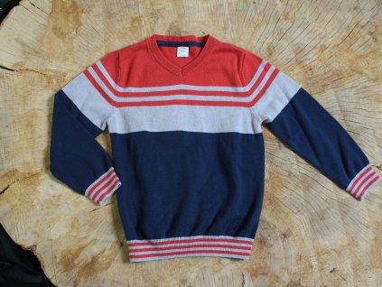 červeno-modro-šedý svetřík S.Oliver 116-122