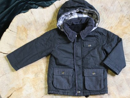 černo-šedá bunda s kapucí Matalan 3-4Y