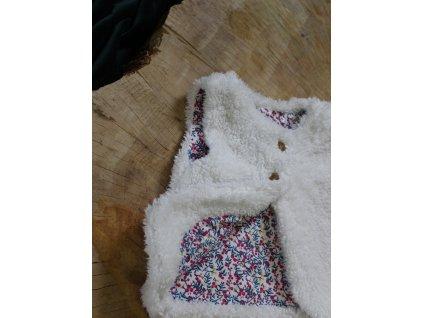 bílá plyšová vesta s květinovou podšívkou Mothercare 86