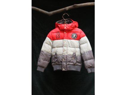červeno-šedo-hnědá péřová bunda Pepe Jeans 6Y