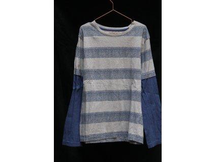 modro-šedé proužkované triko s dl.rukávem Nutmeg 12-13Y