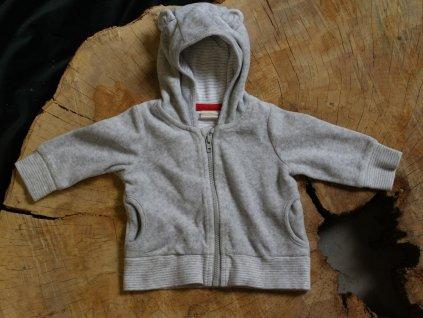 šedá mikina s kapucí H&M 2-4M