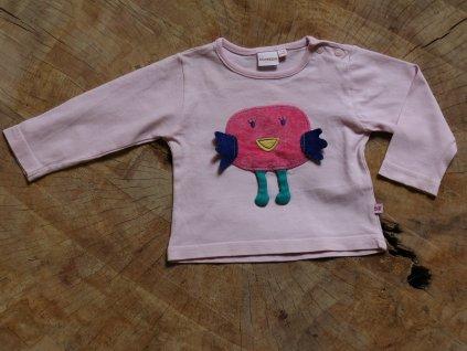 růžové tričko s ptáčkem Bluezoo 3-6M