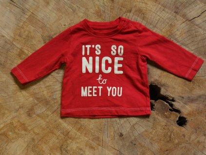 newborn červené tričko s dlouhým rukávem Nutmeg 50