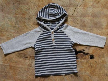 proužkované tričko s kapucí Next 6-9M