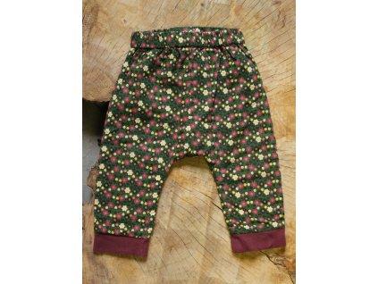 kalhoty zelené květy Little Green Radicals 6-9M